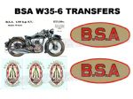 BSA W35-6 Transfers Decals Set DBSA175